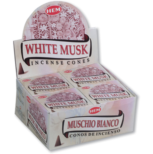 Incense Cones - White Musk - 10 Cone Packet, Hem