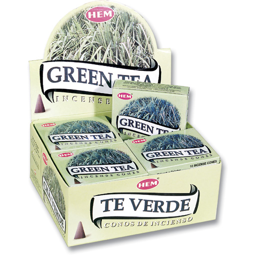Incense Cones - Green Tea - 10 Cone Packet, Hem