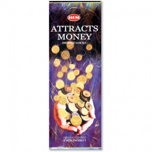 Incense - Attracts Money - 20 Sticks, Hem, Hex Pack
