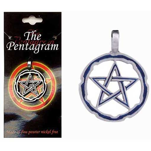 Pewter Pentagram Necklace - Style 08