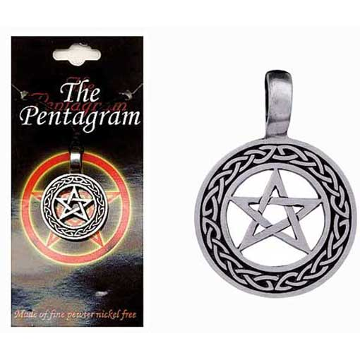 Pewter Pentagram Necklace - Style 12