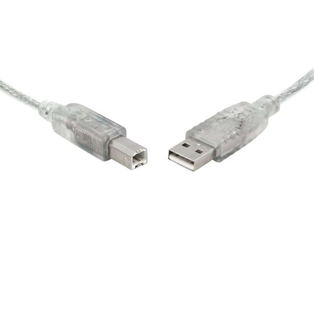 USB 2.0 Certified Cable A-B M/M 2m Transparent Metal Sheath UL Approved